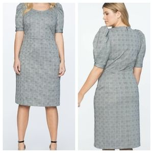 Puff Sleeve Check Pattern Dress